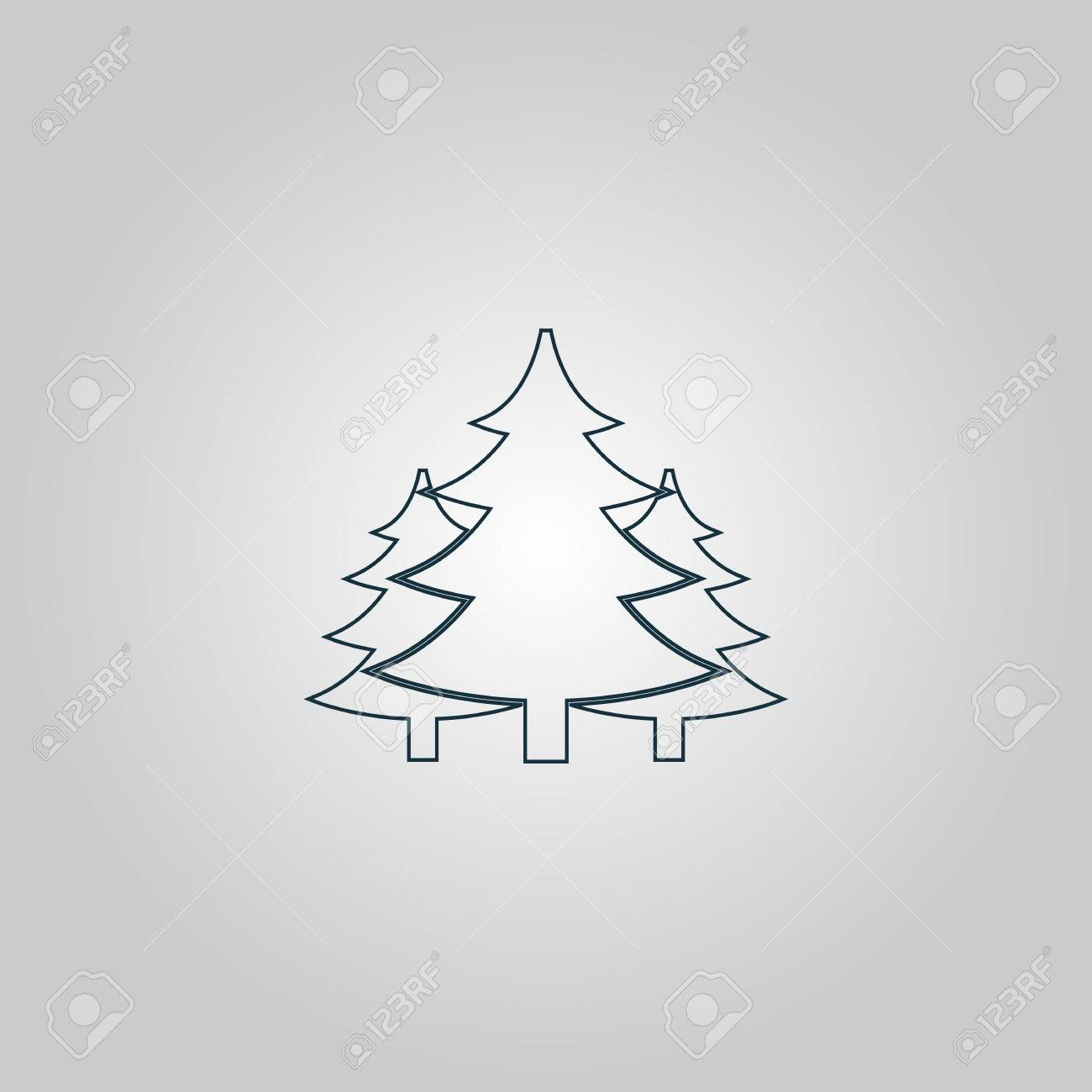 Grey Christmas Tree Tree Christmas Fir Tree Flat Web Icon Or Sign Isolated On Grey