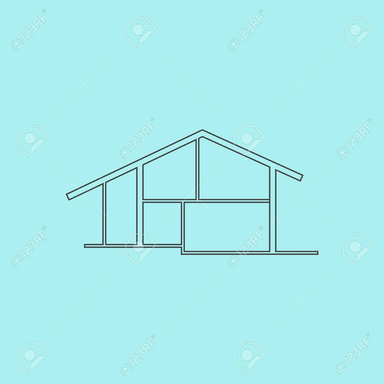 Modern House. Simple Outline Flat Vector Icon Isolated On Blue ... - ^