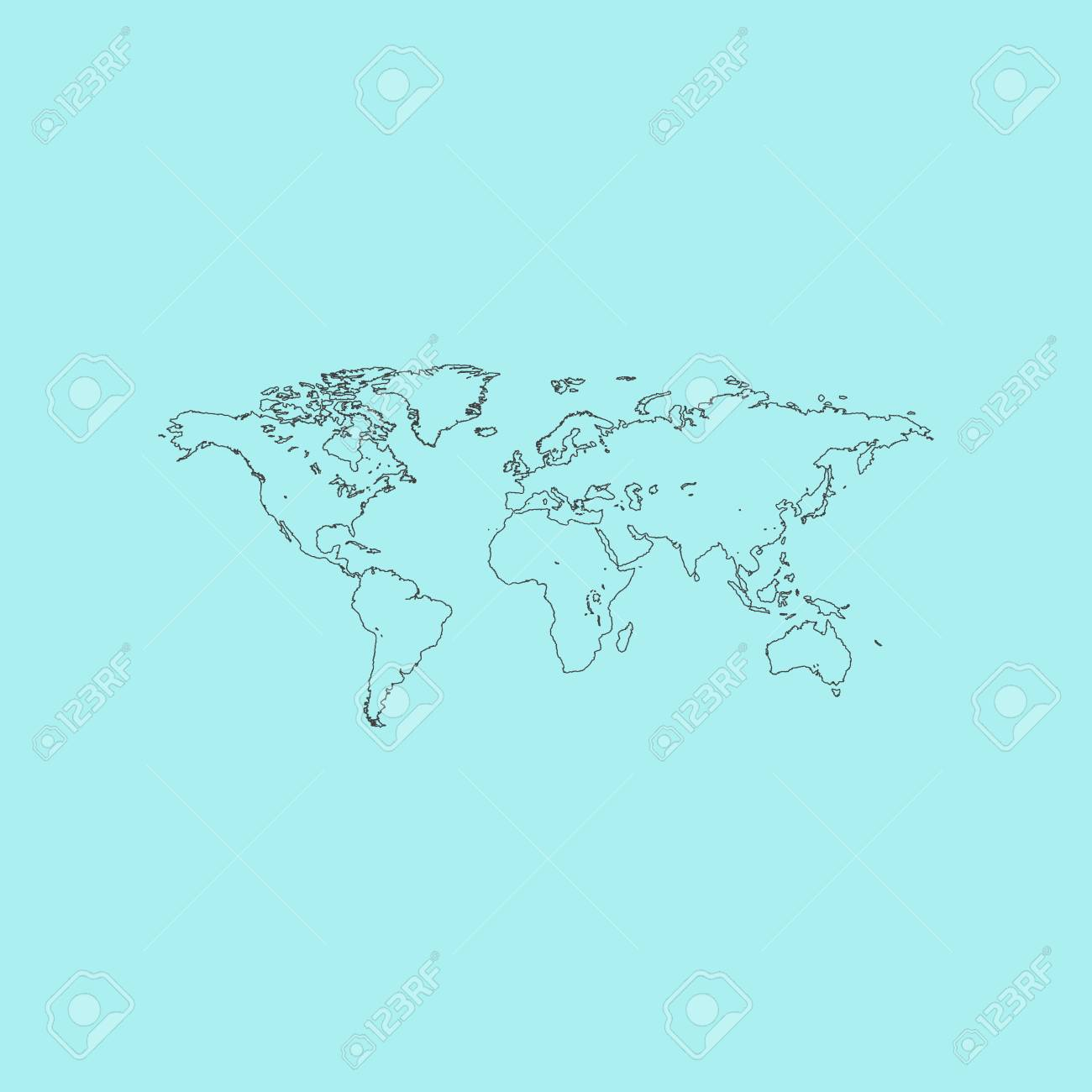 Map Of The World Simple.Map Of The World Simple Outline Flat Vector Icon Isolated On