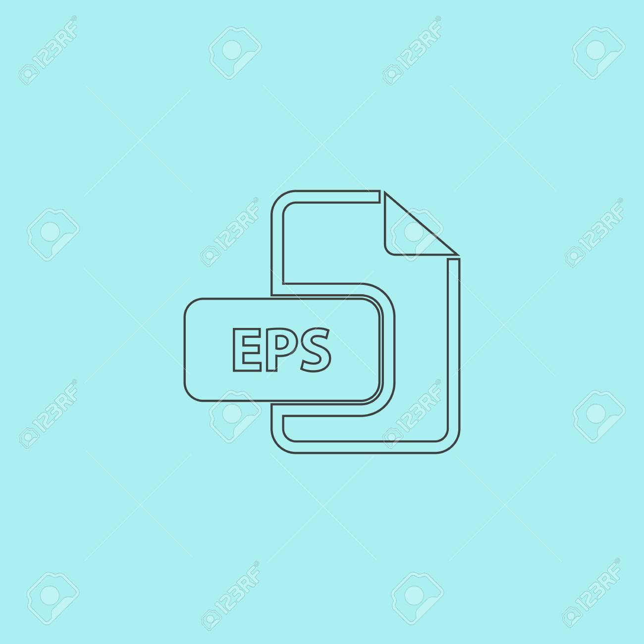 eps vector file extension simple outline flat vector icon isolated