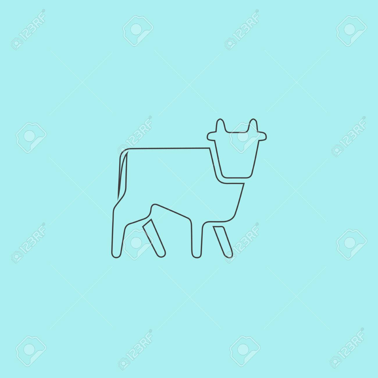 Cow  Simple outline flat vector icon isolated on blue background