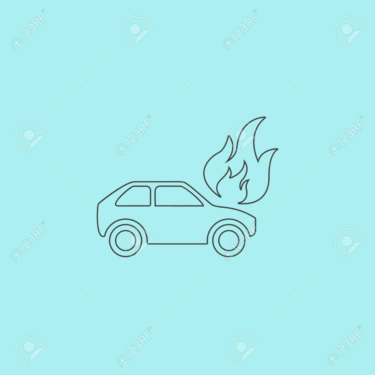Car Fire Simple Outline Flat Vector Icon Isolated On Blue Background Stock