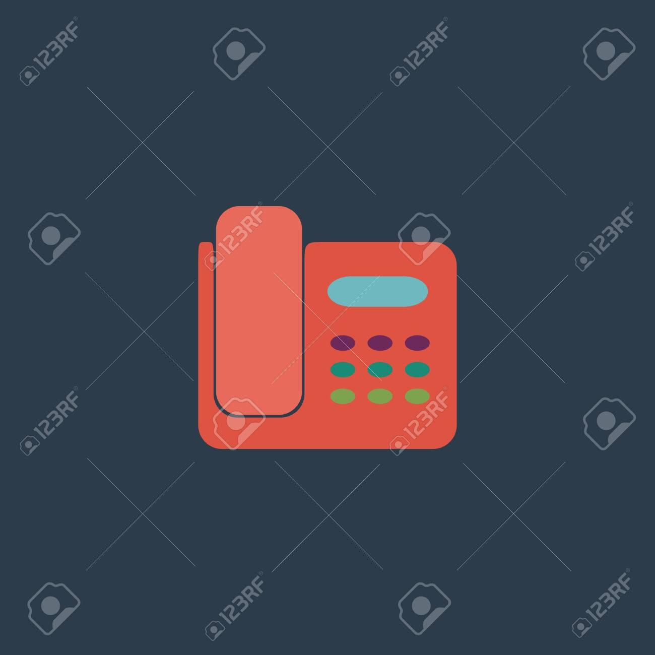 fax machine colorful vector icon simple retro color modern