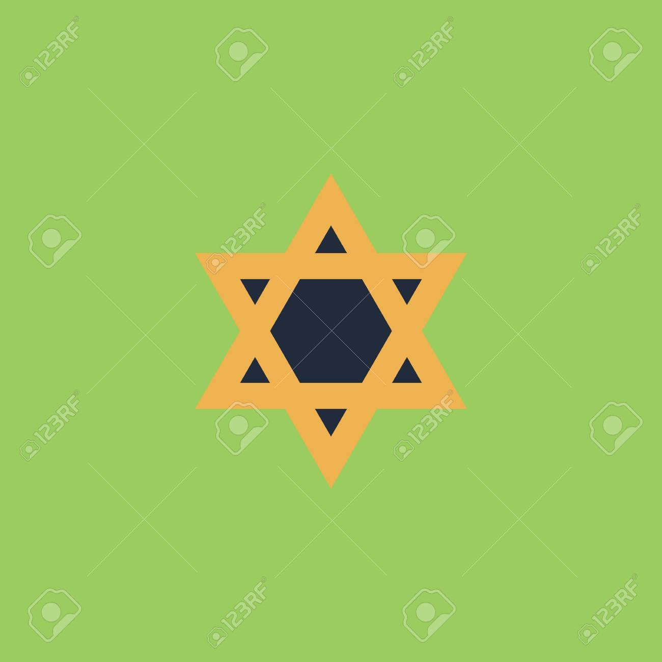 Star Of David Colorful Vector Icon Simple Retro Color Modern