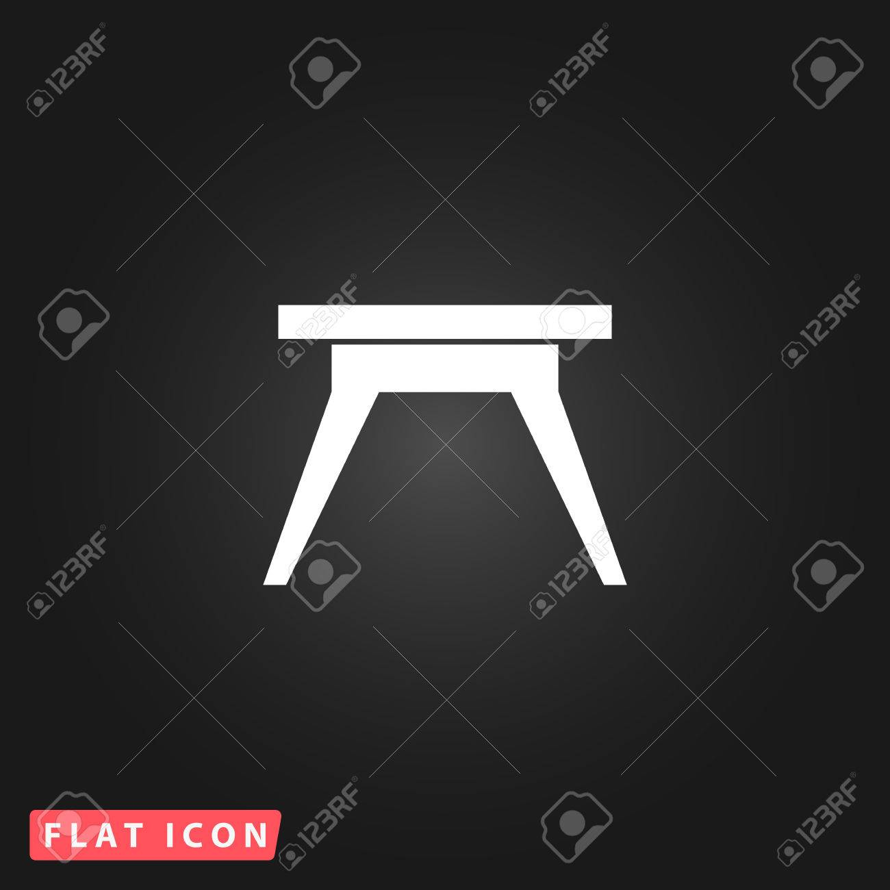 Simple table free other icons - Small Table White Flat Simple Vector Icon On Black Background Stock Vector 51592982