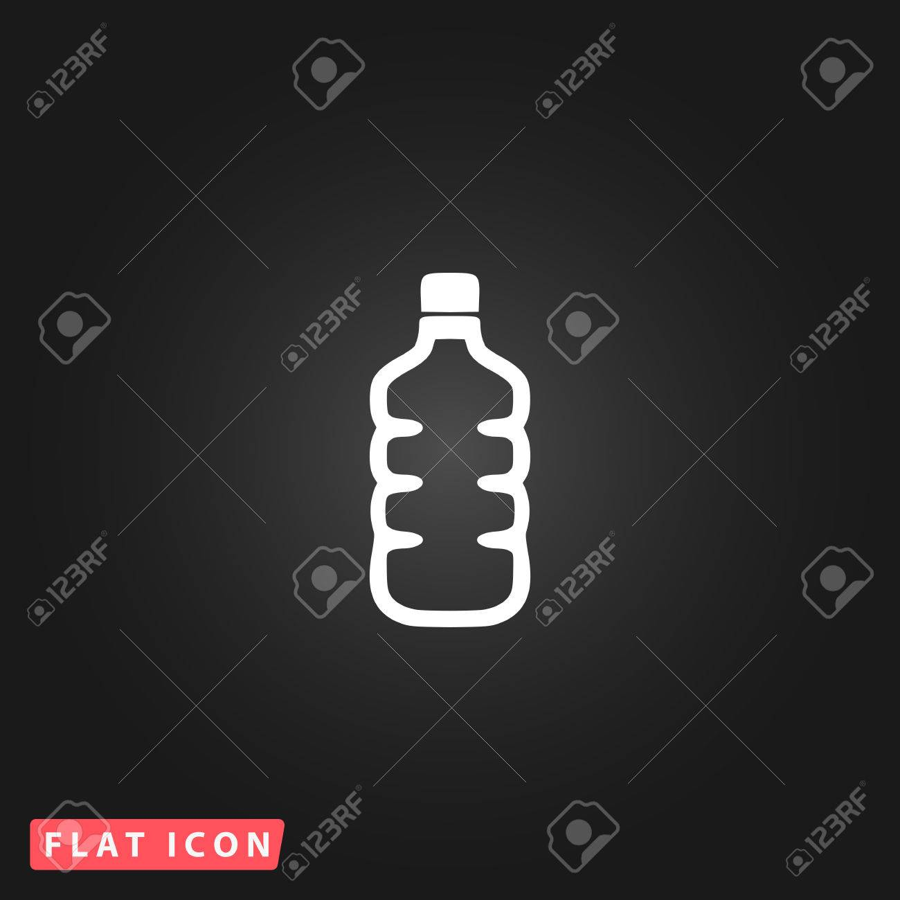 Plastic Water Bottle White Flat Simple Vector Icon On Black