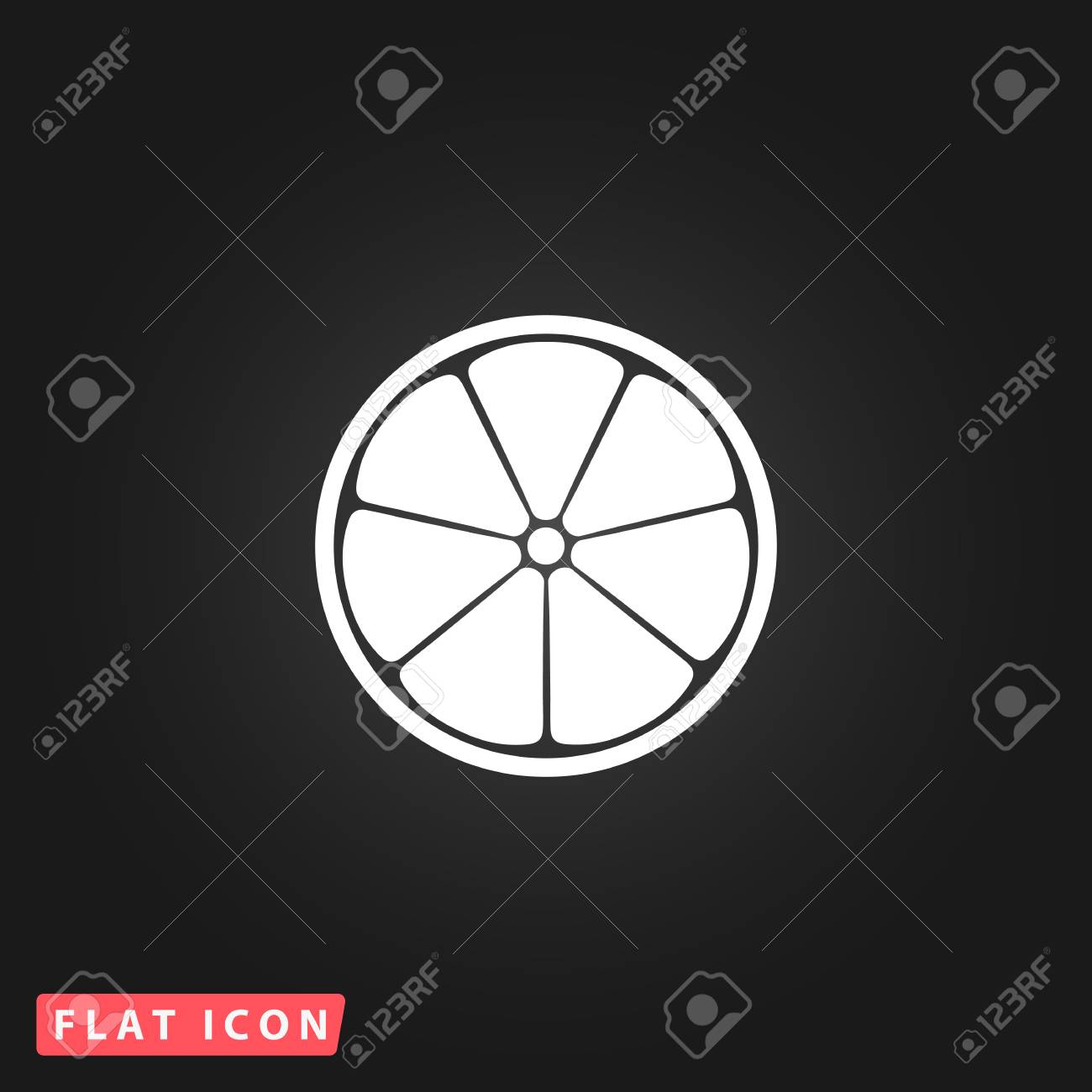 Half Of Lemon White Flat Simple Vector Icon On Black Background