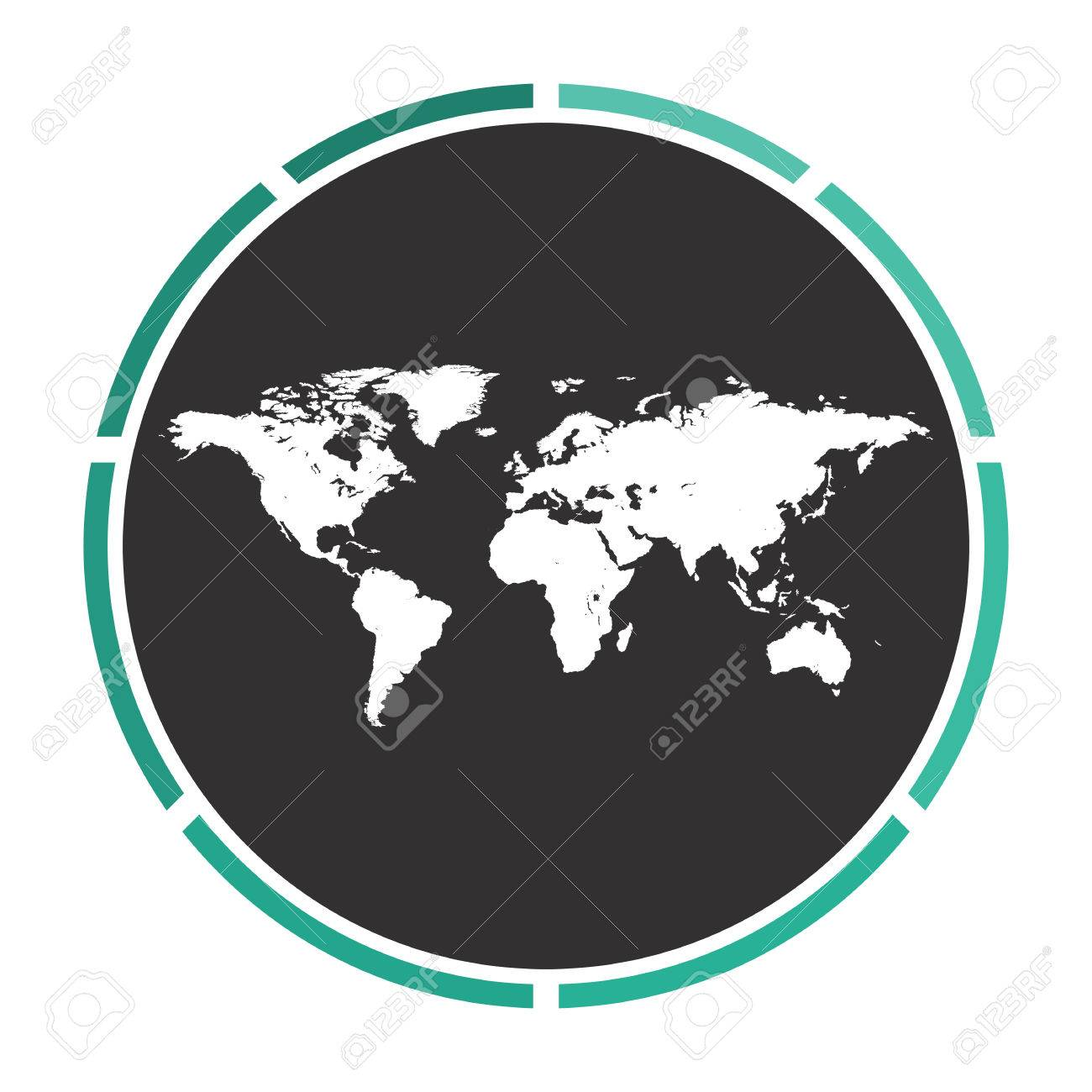 Simple World Map Flat. World Map Simple flat white vector pictogram on black circle  Illustration icon Stock Vector Flat White Pictogram On Black Circle