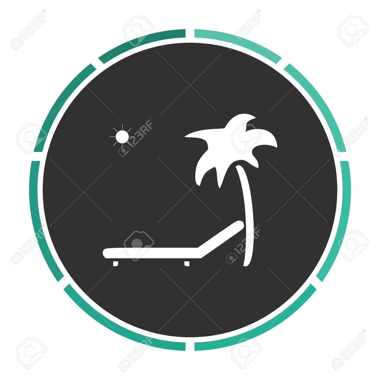 Deck Chair Simple Flat White Vector Pictogram On Black Circle. Illustration  Icon Stock Vector