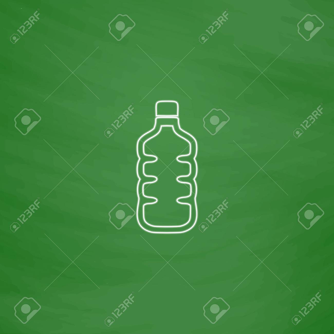 84d8cbc8fa Vector - water bottle Outline vector icon. Imitation draw with white chalk  on green chalkboard. Flat Pictogram and School board background.