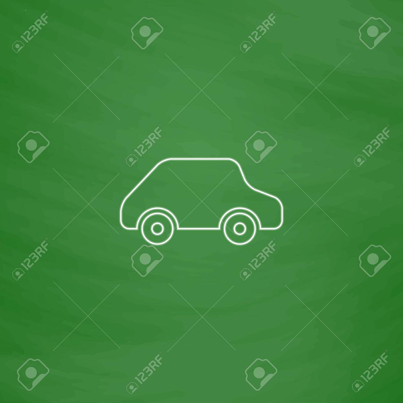 toy car outline vector icon imitation draw with white chalk
