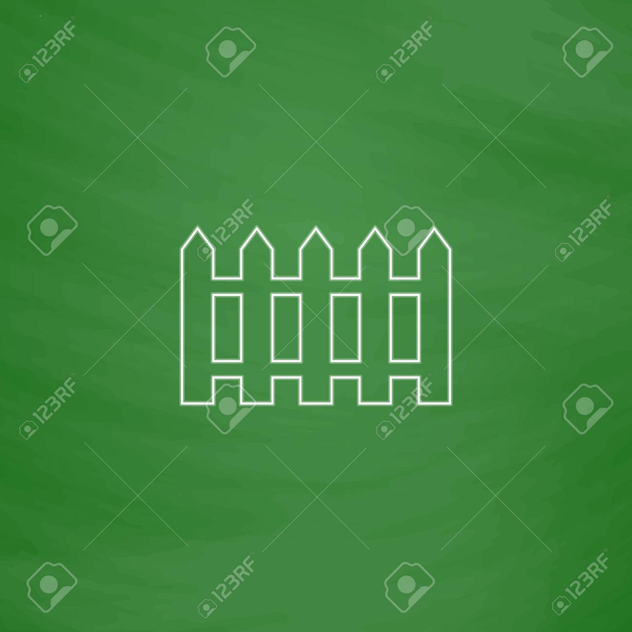 Sch Outline   Fence Outline Vector Icon Imitation Draw With White Chalk On