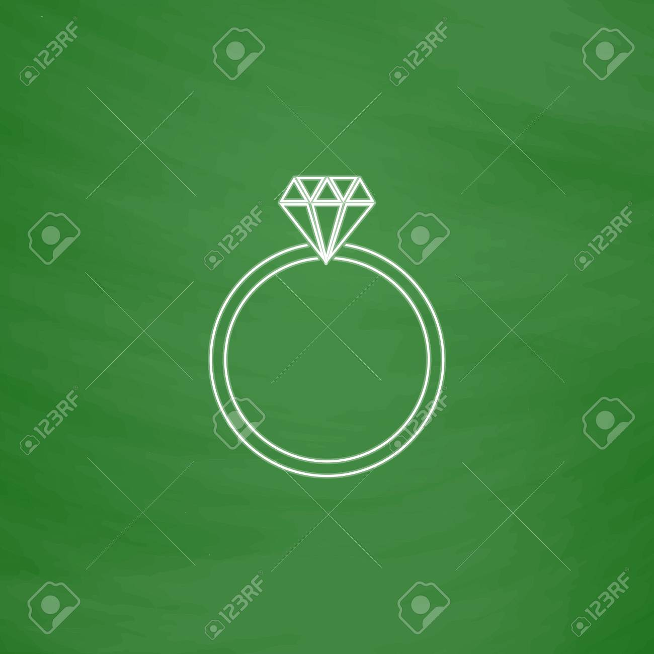 Diamond Ring Outline Vector Icon Imitation Draw With White Chalk On Green Chalkboard Flat: Drawn Chalkboard Wedding Ring At Reisefeber.org