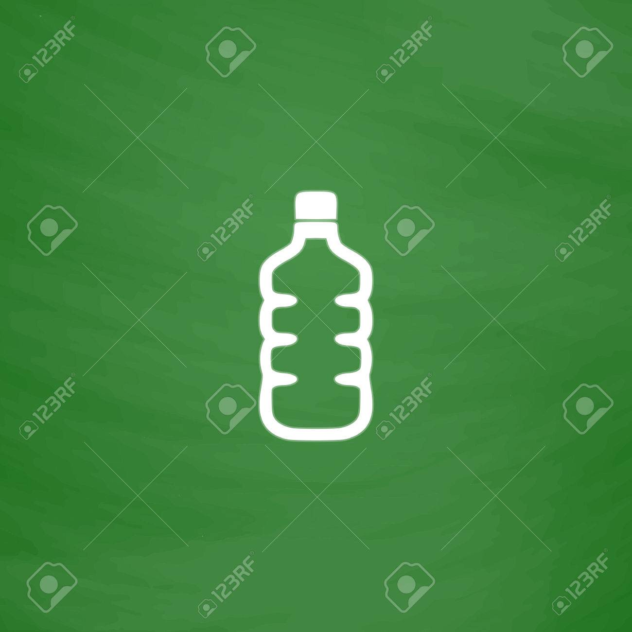 d9910899fb Plastic water bottle. Flat Icon. Imitation draw with white chalk on green  chalkboard.