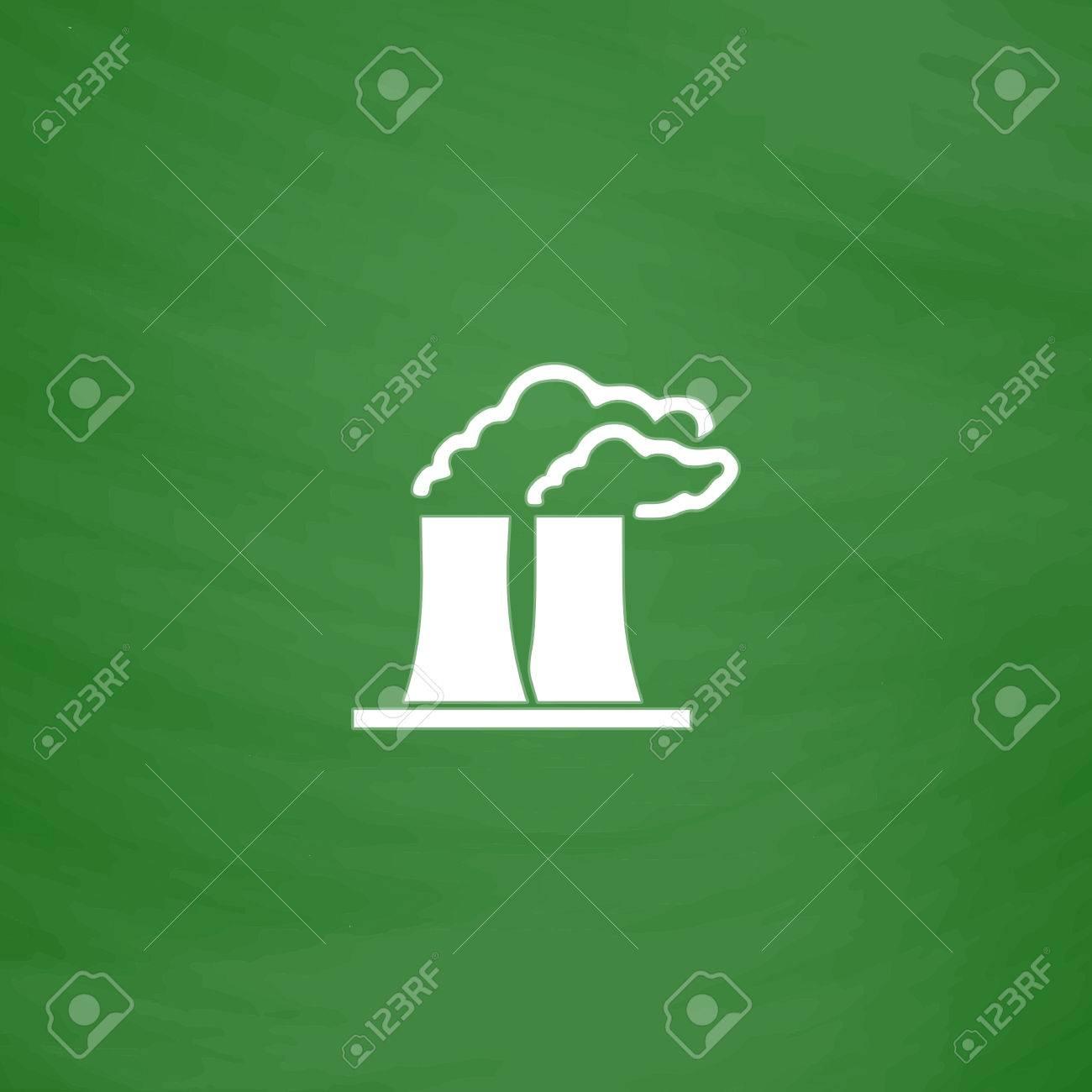 Usine Ou D Une Plante Icône Plat Imitation Dessiner à La Craie Blanche Sur Tableau Vert Pictogram Flat And School Board Background Vector