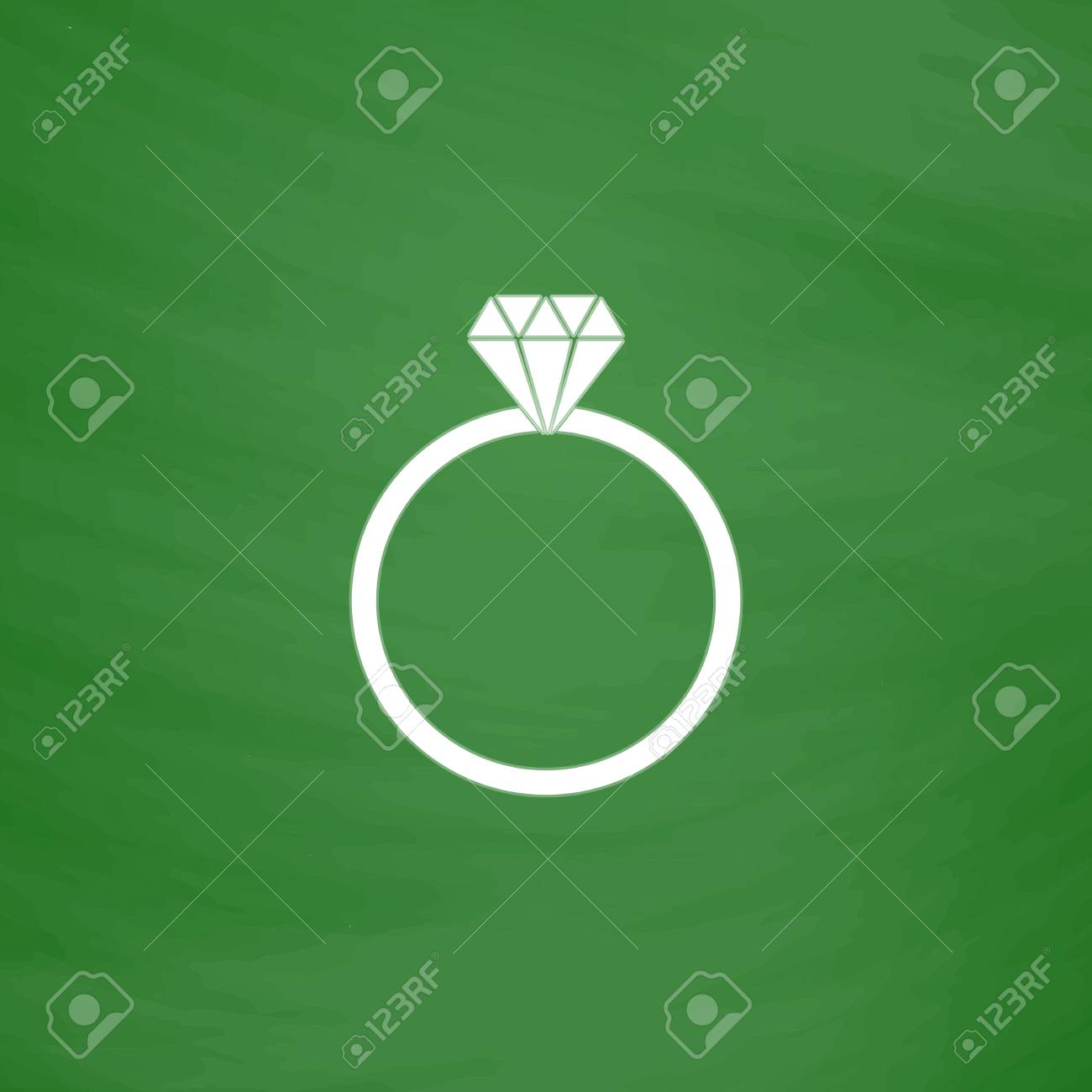 Diamond Engagement Ring Flat Icon Imitation Draw With White Chalk On Green Chalkboard: Drawn Chalkboard Wedding Ring At Reisefeber.org