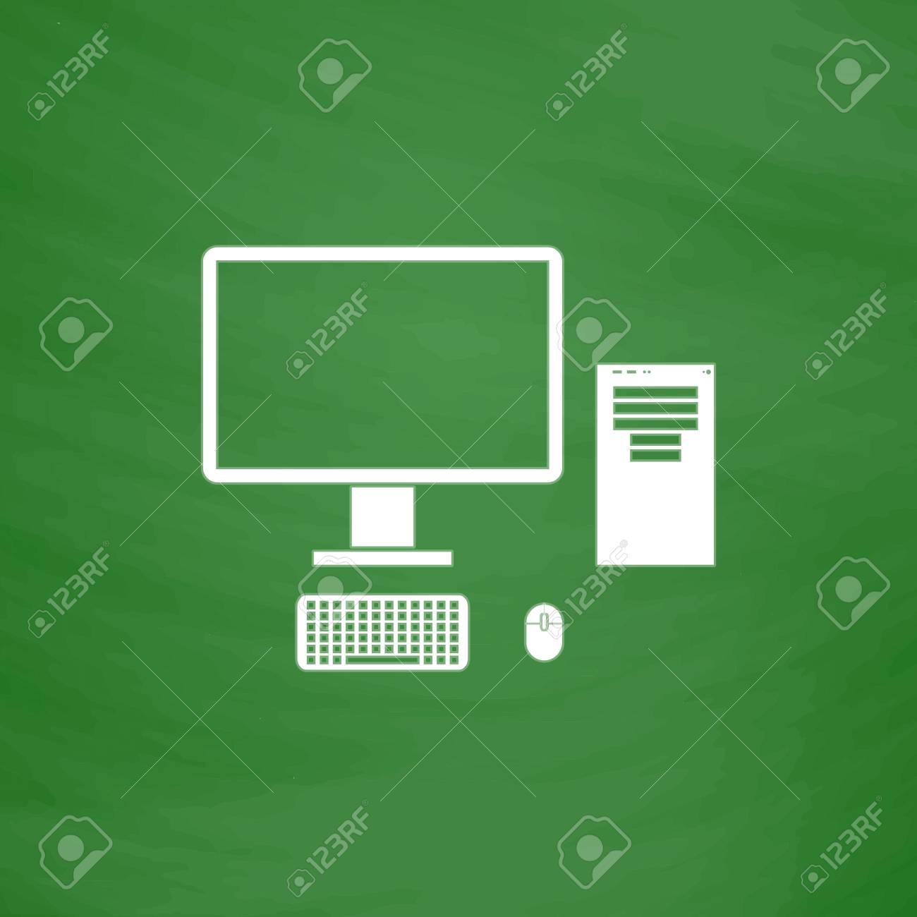 Computer Case With Monitor Keyboard And Mouse Flat Icon Imitation
