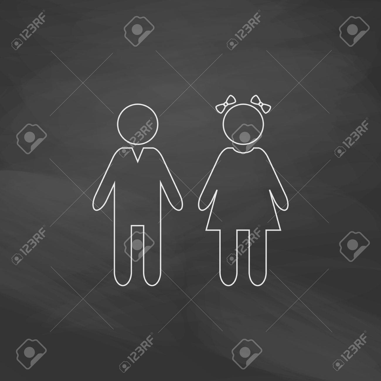 Girl and boy simple line vector button imitation draw with white chalk on blackboard