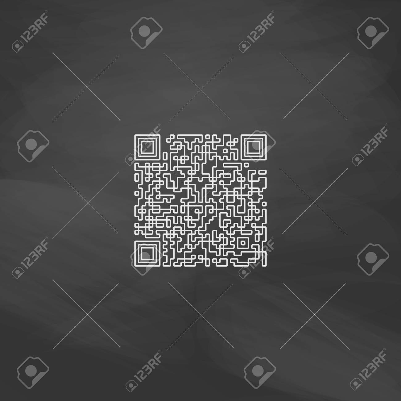 Qr Code Simple Line Vector Button Imitation Draw With White