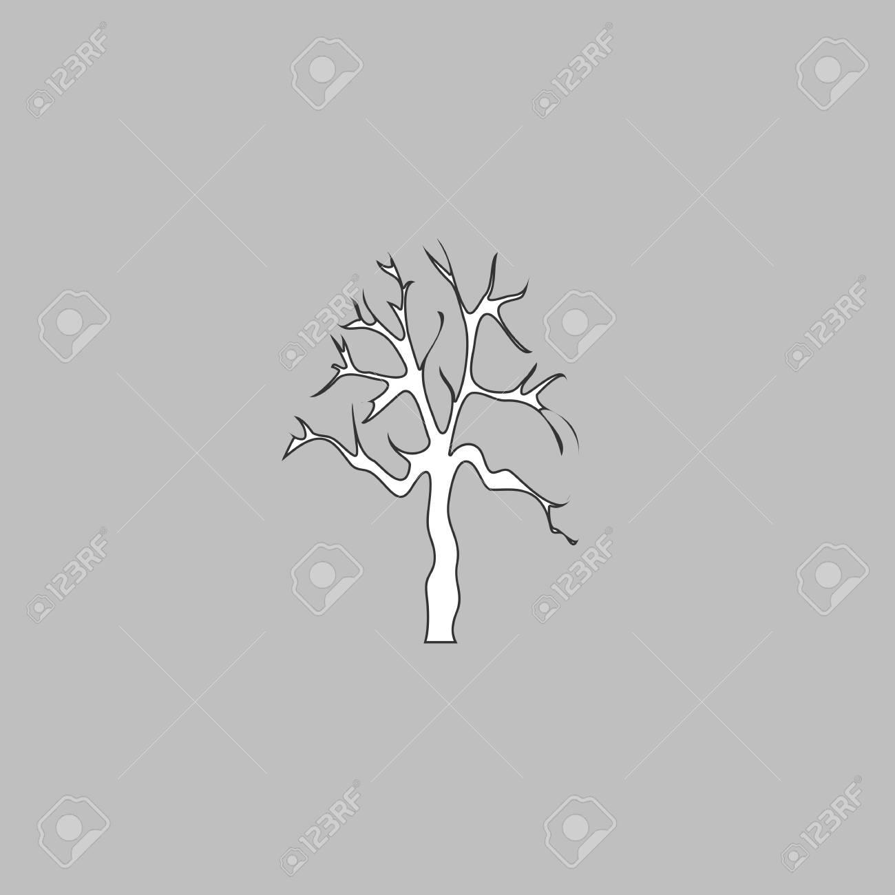 Alter Baum Einfache Linie Vektor-Taste. Dünne Linie Illustration ...