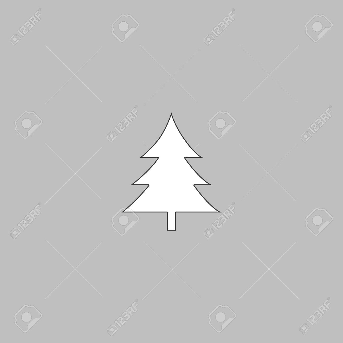 Christmas Tree Simple Line Vector Button Thin Illustration Icon White Outline Symbol On