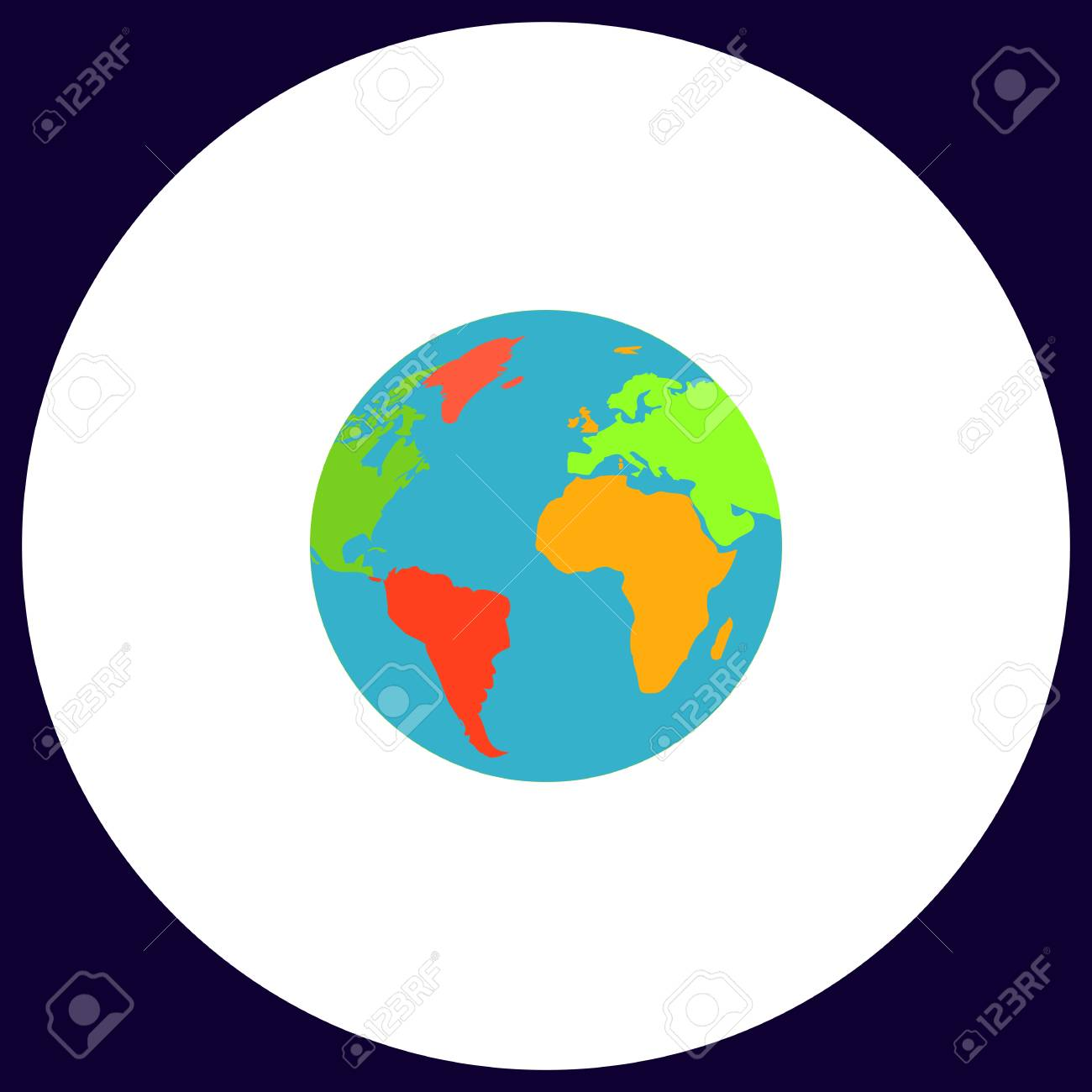Globe Terrestre Bouton Vector Simple Symbole D Illustration