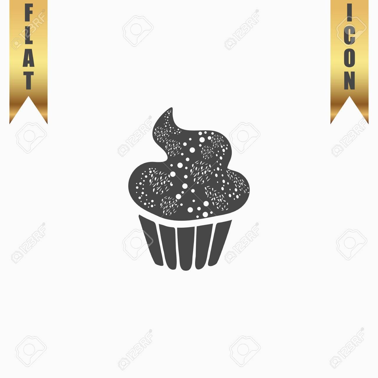 Swirl Cupcake Flat Icon Vector Illustration Grey Symbol On White