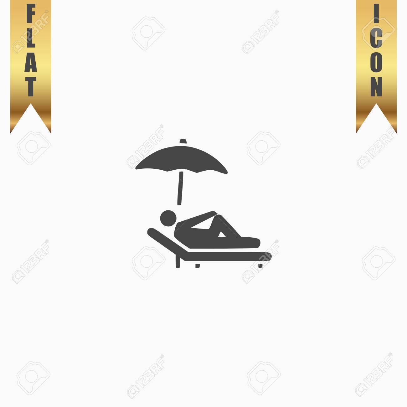 Chaise Plate Vous Blanc Symbole Fond Un Parasol Avec Gris Une LongueIcône Sous D'or Détendez De Vector Ruban Sur Illustration kn0wPO