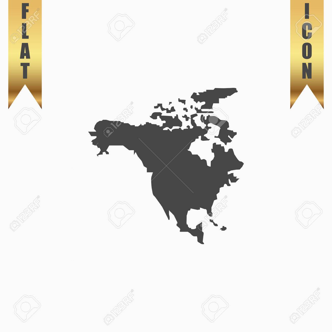 North america map flat icon vector illustration grey symbol north america map flat icon vector illustration grey symbol on white background with gold gumiabroncs Image collections