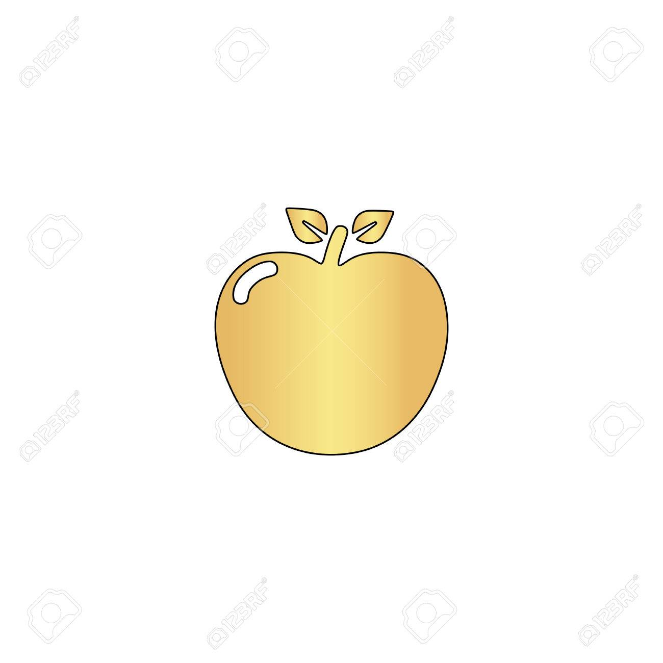 Apple Gold Vector Icon With Black Contour Line Flat Computer