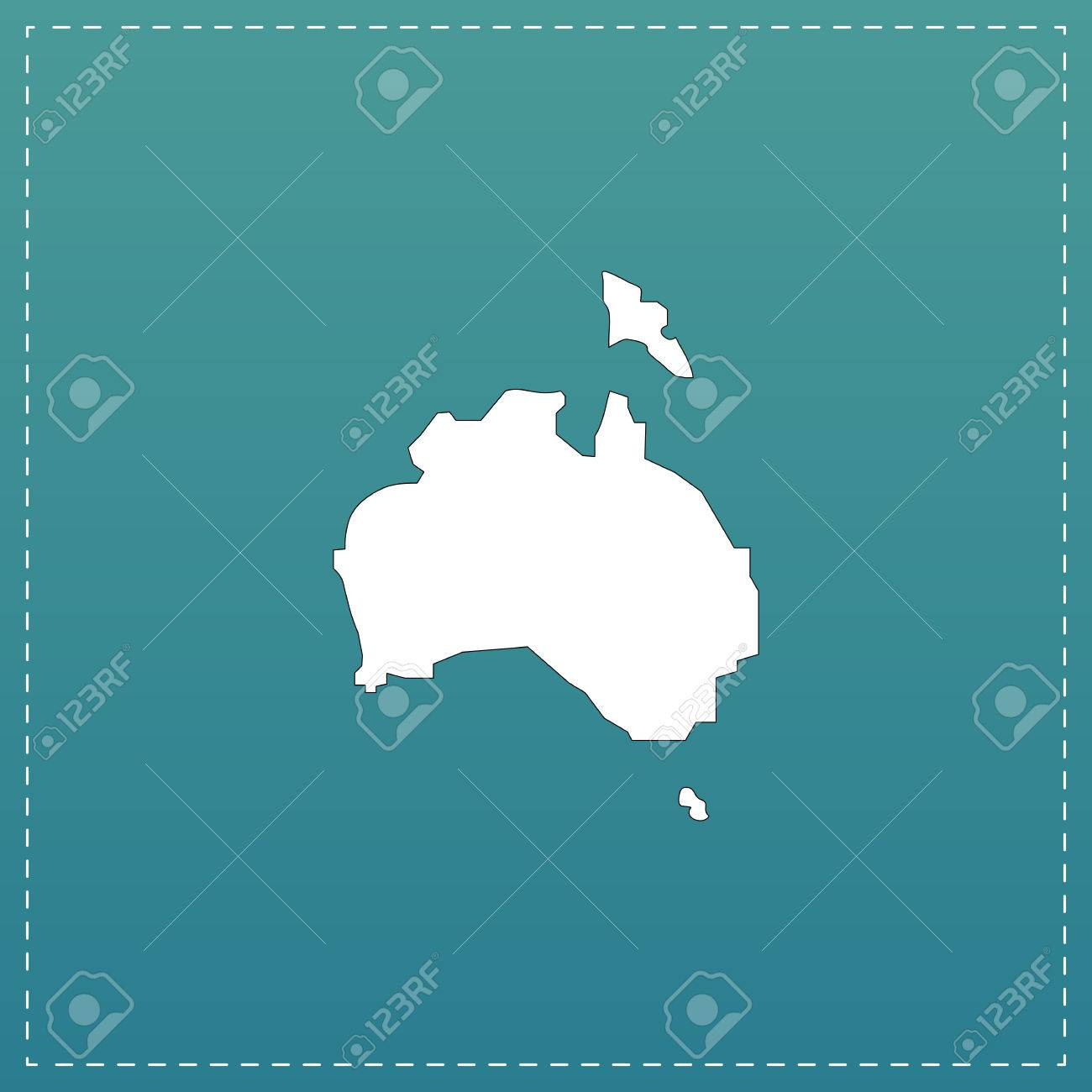 Australia Map In R.Australia Map White Flat Icon With Black Stroke On Blue Background
