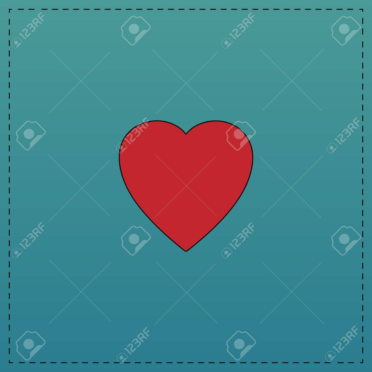 Heart red vector icon with black contour line flat computer heart red vector icon with black contour line flat computer symbol on blue background stock buycottarizona Choice Image