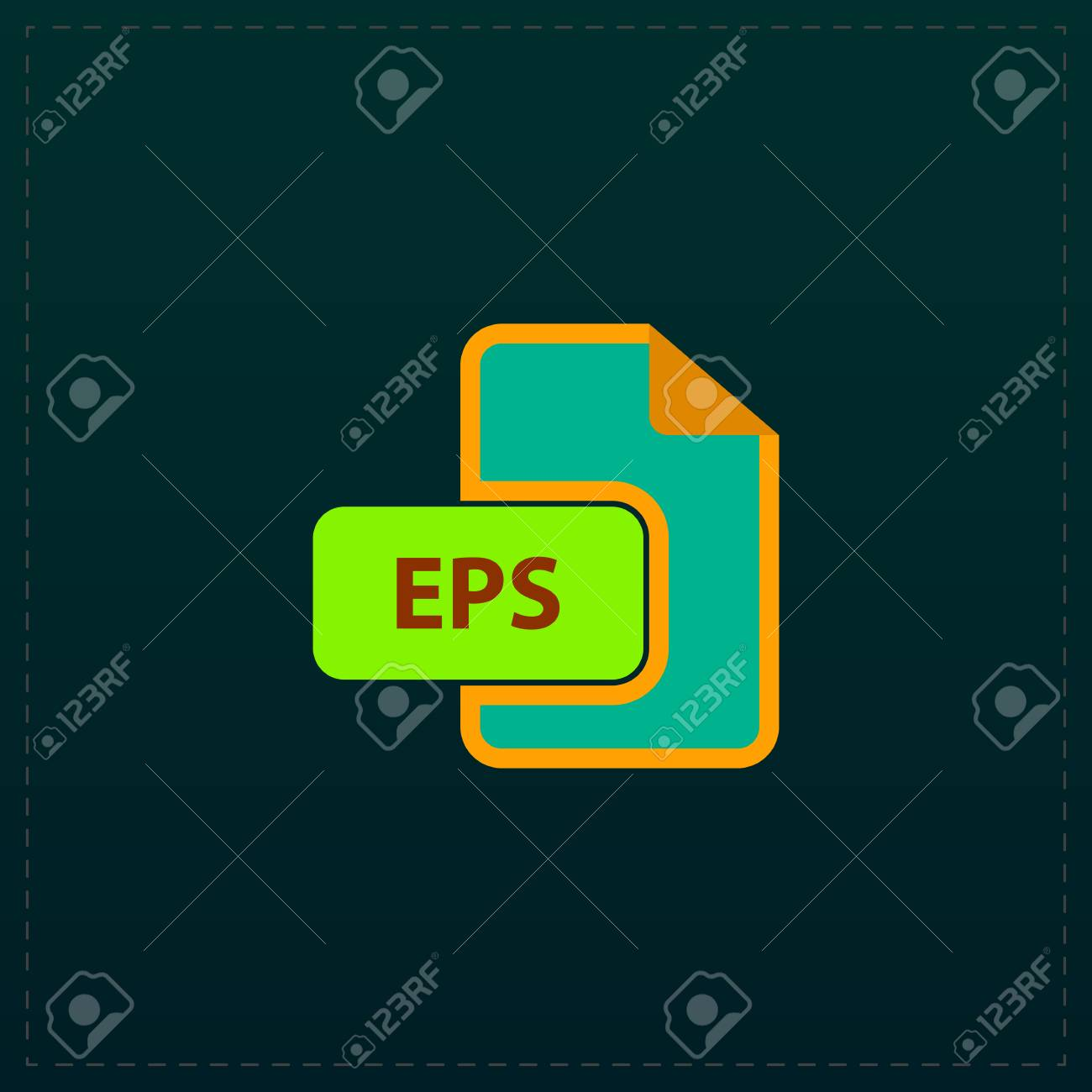eps vector file extension color symbol icon on black background