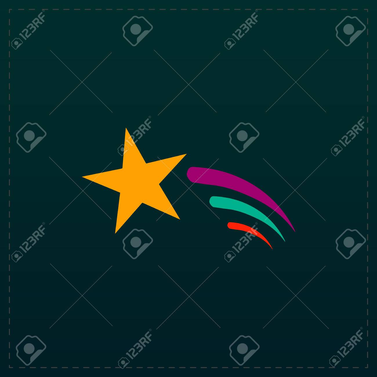 Shooting Star Color Symbol Icon On Black Background Vector