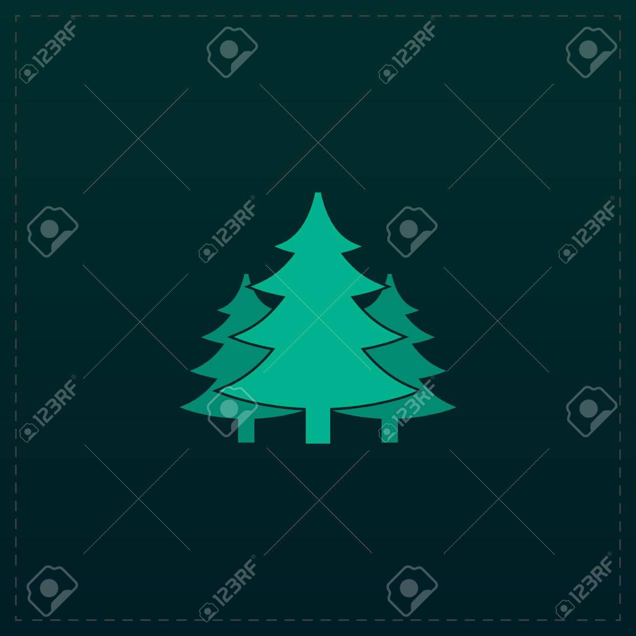 Arbre Sapin De Noël Icône De Symbole De Couleur Sur Fond Noir