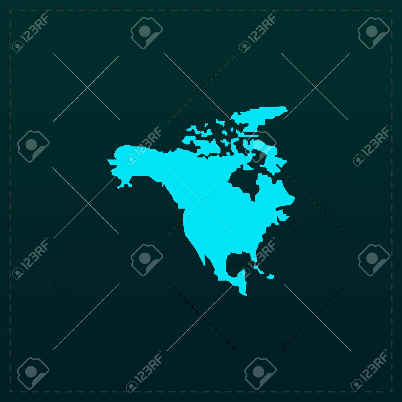 Free North America Map.North America Map Color Symbol Icon On Black Background Vector
