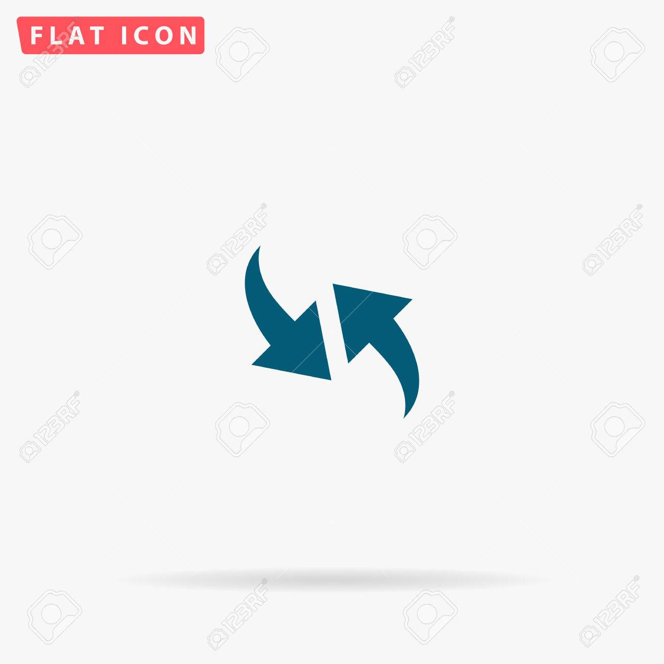 Two Side Arrow Icon Vector Flat Simple Blue Pictogram On White