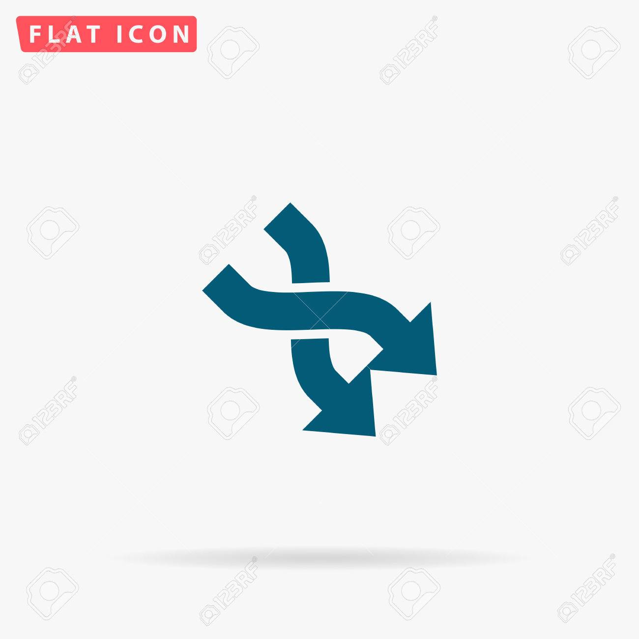 2 Side Arrow Icon Vector Flat Simple Blue Pictogram On White