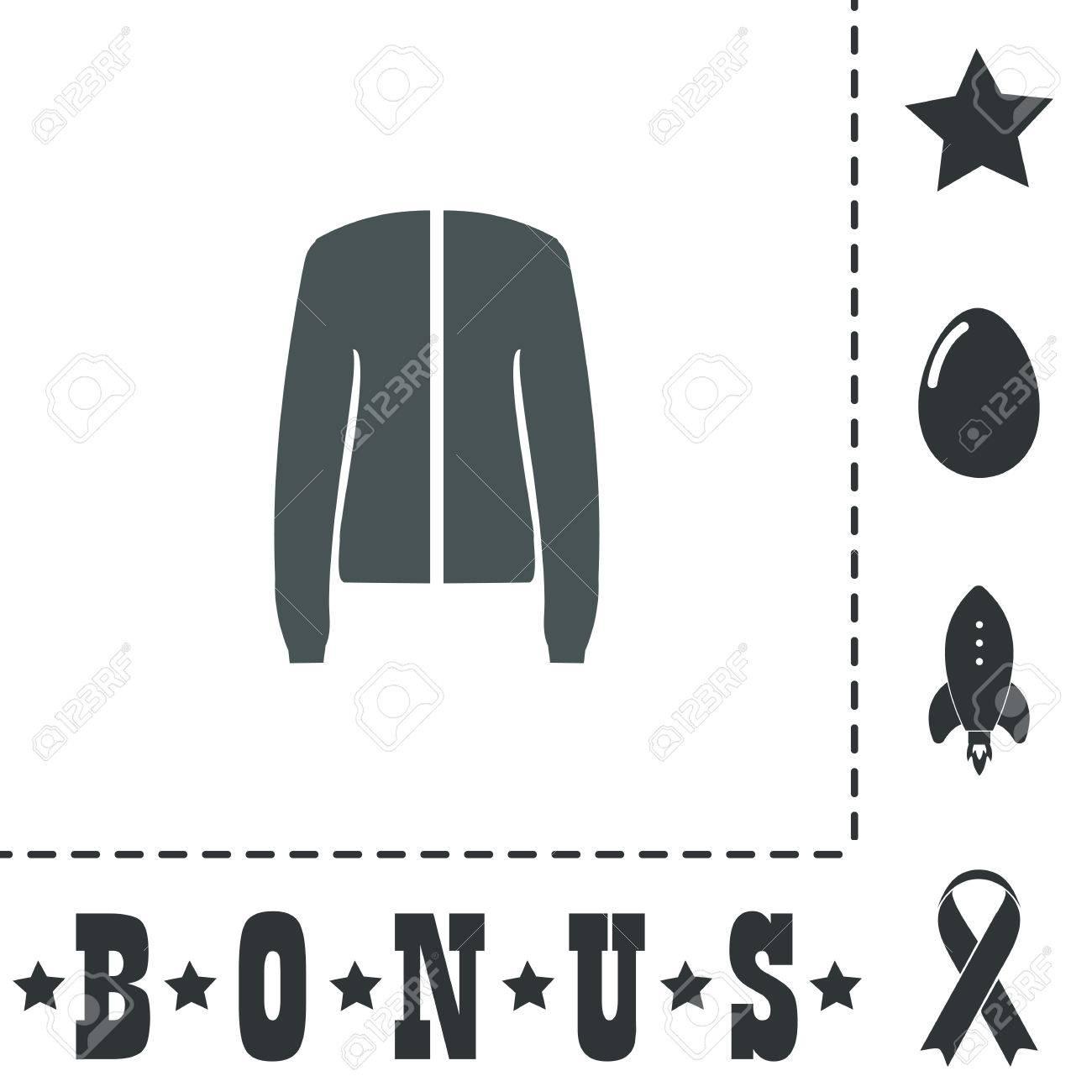 Jacke. Einfache flache Symbol Symbol auf weißem Hintergrund. Vector illustration Piktogramm und Bonus Symbole