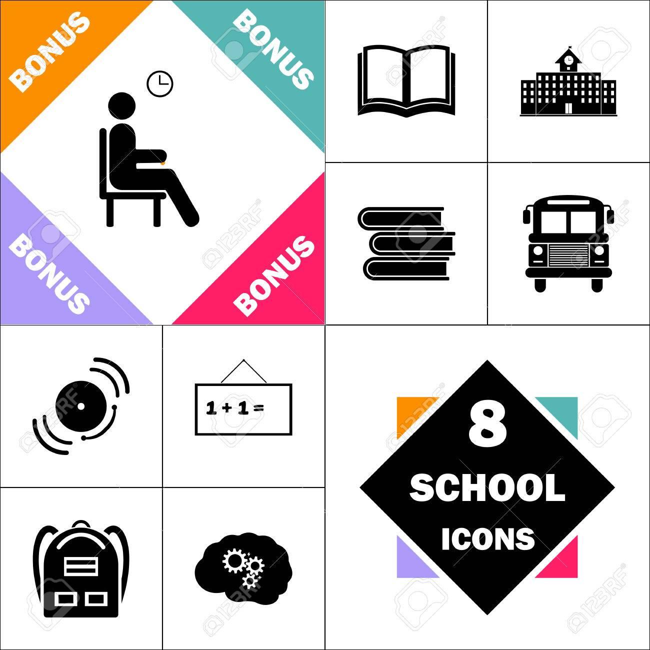 Attendre L Icone Et Definir Le Pictogramme Perfect Retour A L Ecole Contient Des Icones Telles Que Le Livre Scolaire Le Batiment Scolaire Le Bus