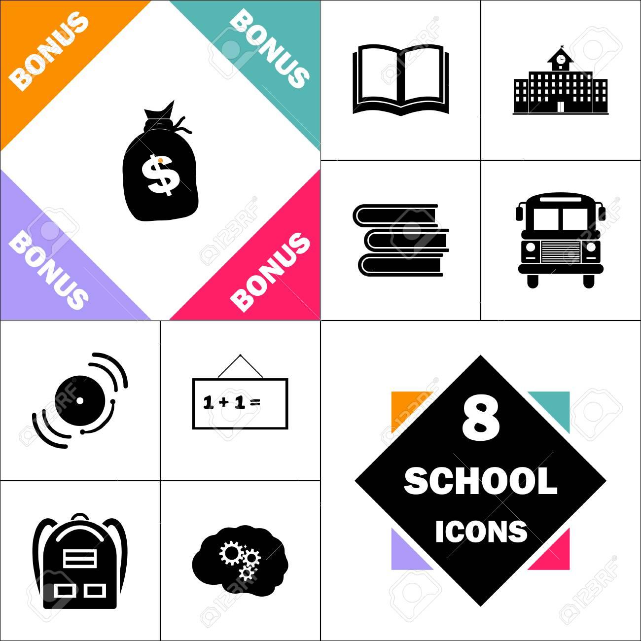 L'école Et Parfait Set Sac 7zwqaah Icône Pictogramme Retour D'argent erCxdBo