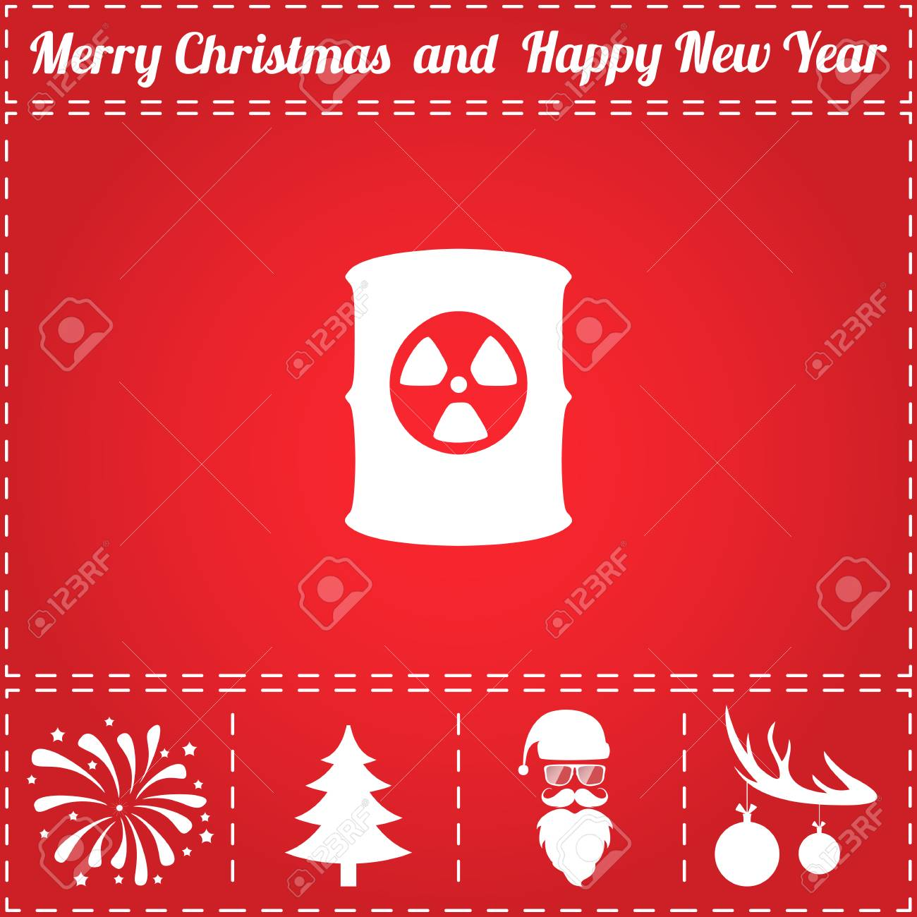 Toxic Container Icon Vector And Bonus Symbol For New Year