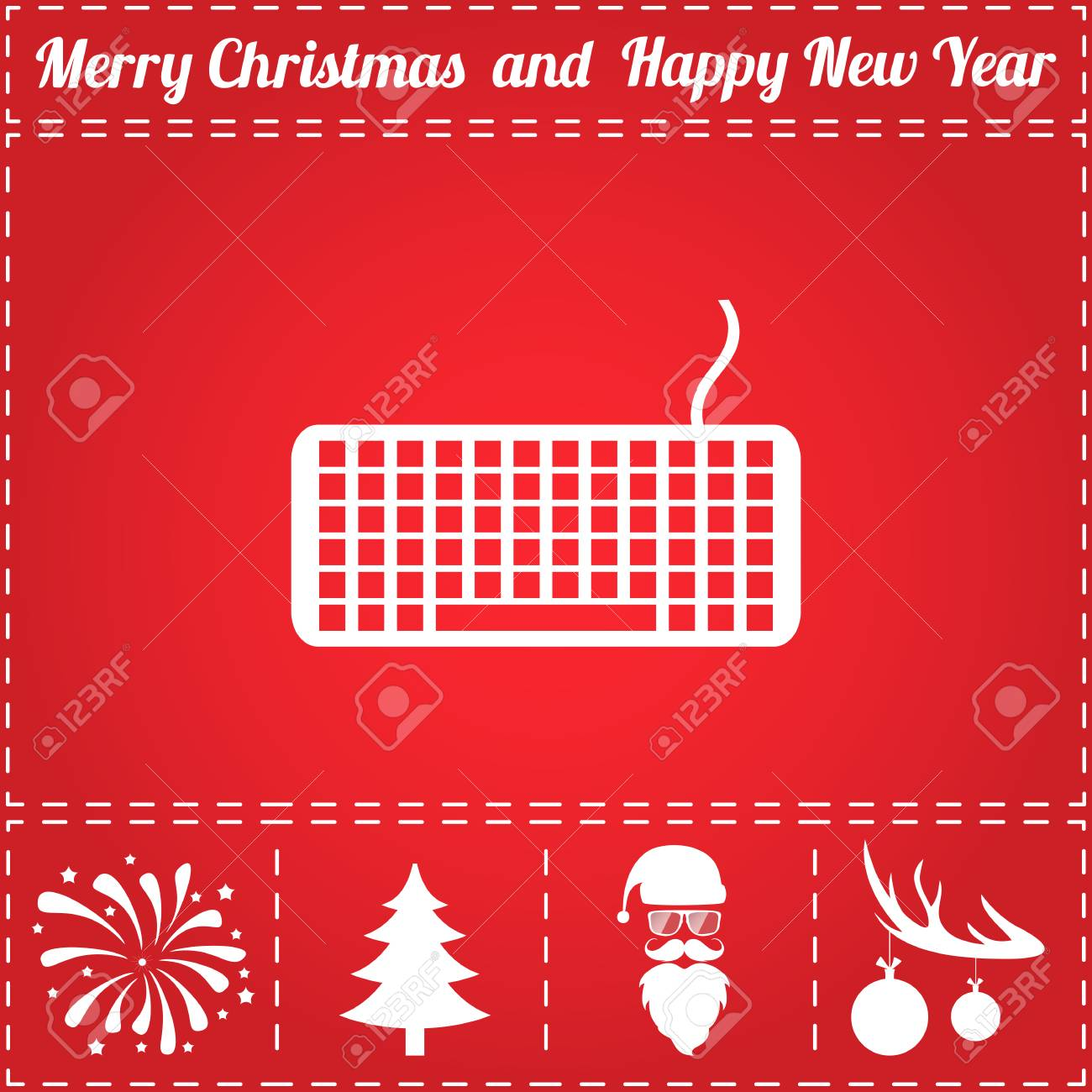 Keyboard Icon Vector And Bonus Symbol For New Year Santa Claus