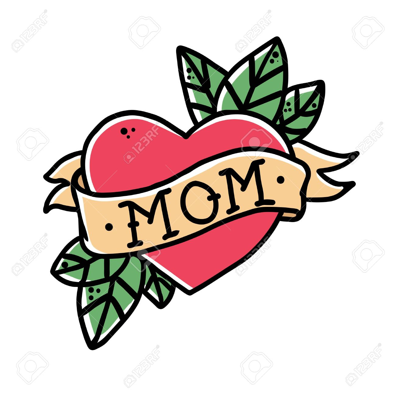 Tattoo Heart with ribbon and the word mom. Old school retro vector illustration. - 63015014