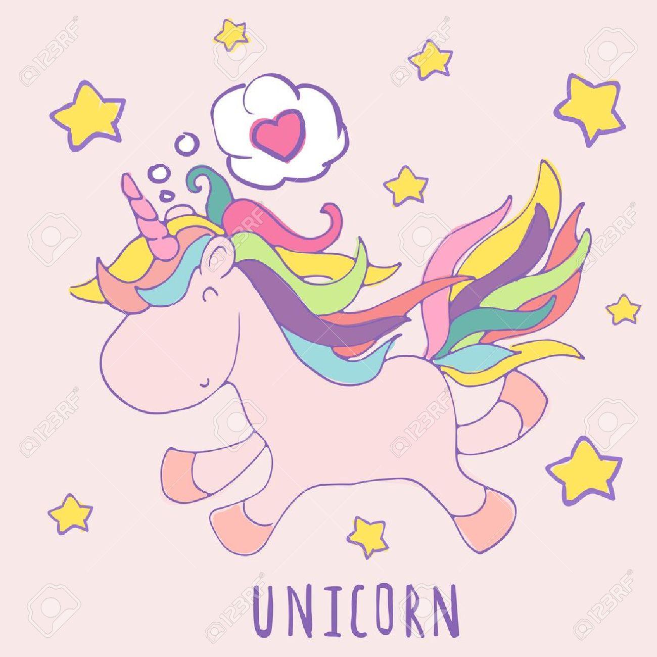 Amor Del Unicornio Historieta Linda Del Vector Tarjeta Del Feliz Cumpleaños Con Invitación De La Fiesta De Diseño Invitación Plantilla Vector