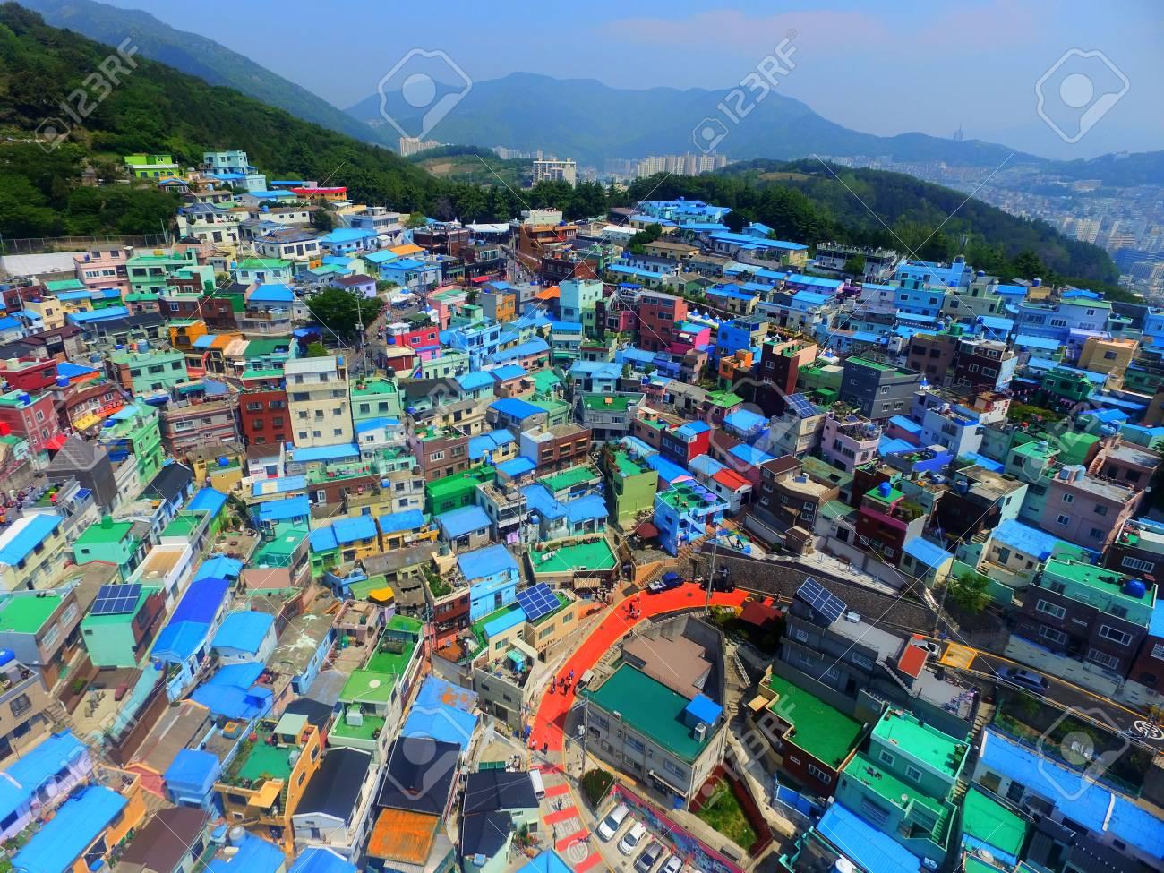 Aerial View Of Gamcheon Culture Village Sahagu Busan South