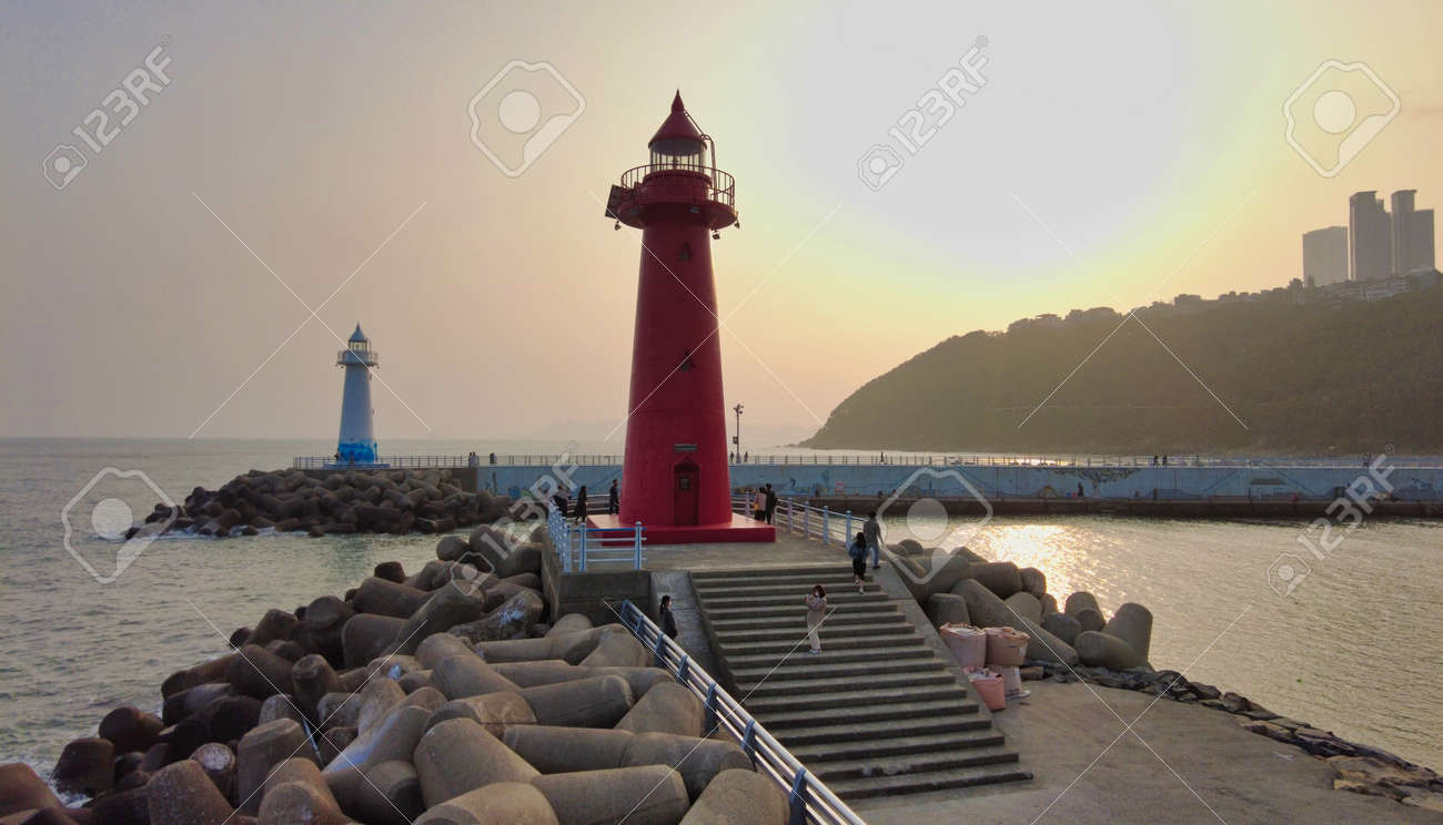 Sunset of Cheongsapo Port in Haeundae, Busan, South Korea, Asia. - 165874000