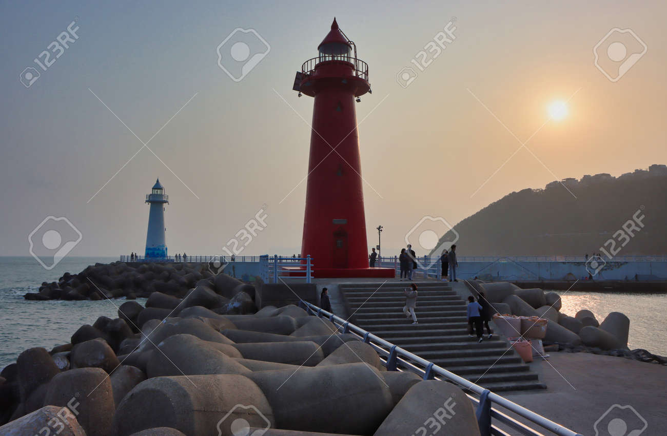Sunset of Cheongsapo Port in Haeundae, Busan, South Korea, Asia. - 165873661