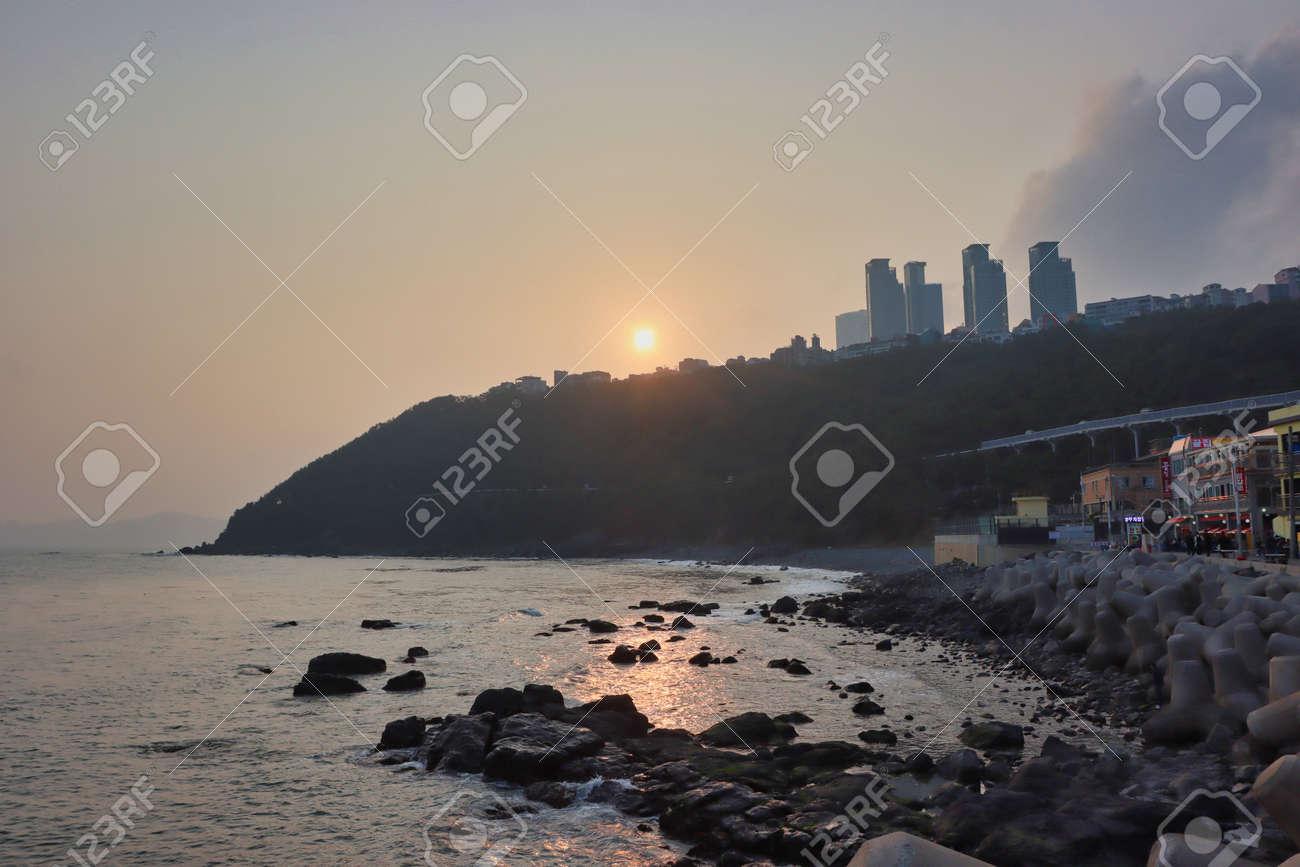 Sunset of Cheongsapo Port in Haeundae, Busan, South Korea, Asia. - 165873893