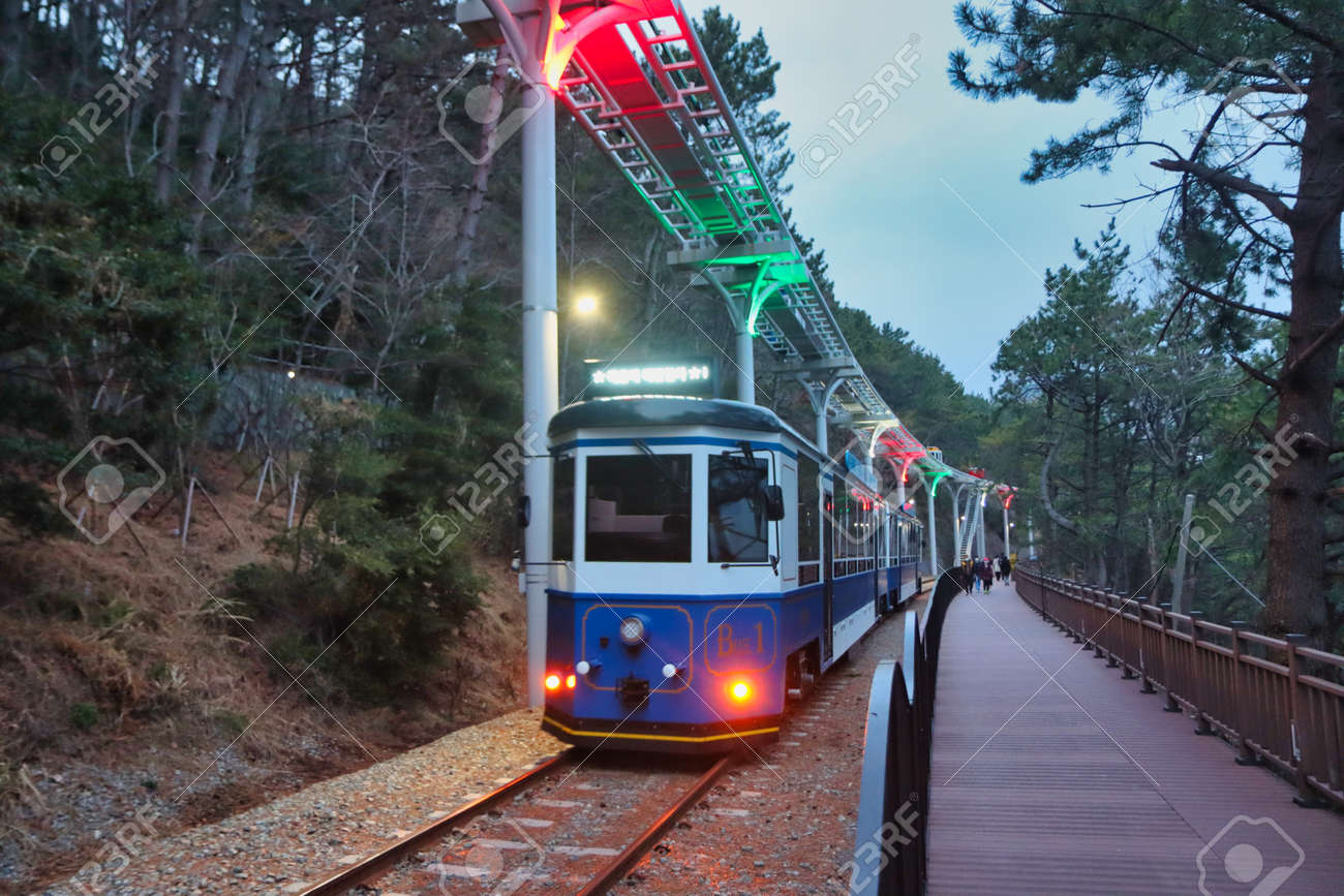Scenery of Haeundae Beach Train, Busan, South Korea, Asia. - 166088464
